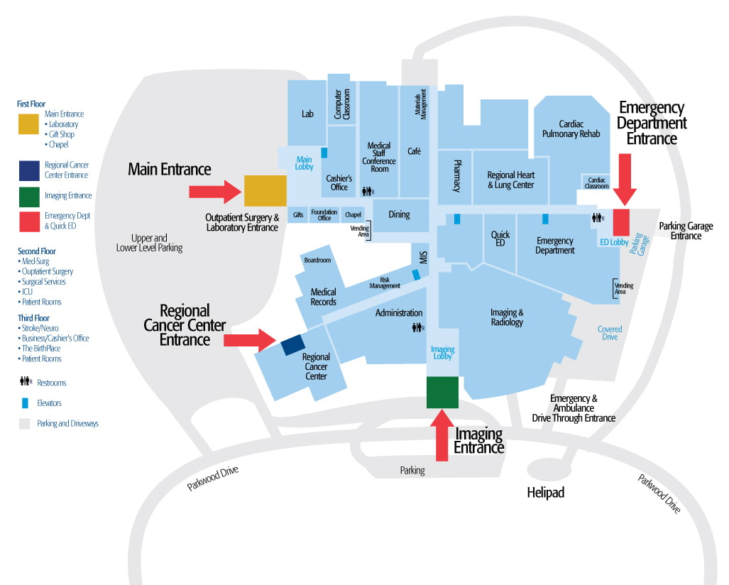 Hugh Chatham Campus Map close up