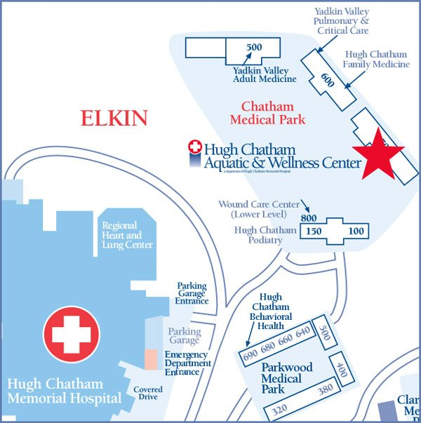 Hugh Chatham Aquatic & Wellness Center Map